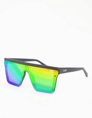 Солнцезащитные очки в стиле унисекс матовой черной оправе с плоским верхом и радужными поляризованными линзами Quay Pride Hindsight-Черный цвет Australia