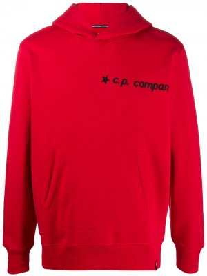 Толстовка с капюшоном и графичным принтом C.P. Company. Цвет: красный