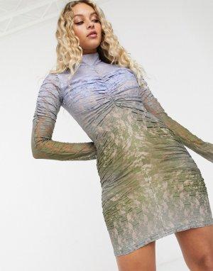 Кружевное платье мини с эффектом омбре House Of Holland-Голубой Holland