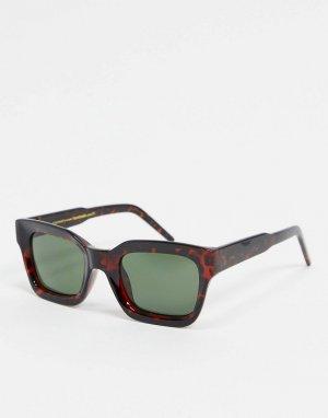 Квадратные солнцезащитные очки в черепаховой оправе -Коричневый A.Kjaerbede