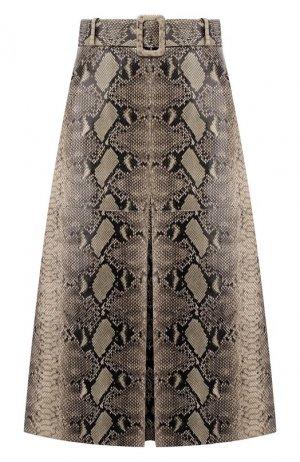 Кожаная юбка Tommy Hilfiger. Цвет: бежевый
