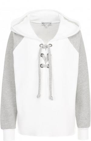 Пуловер из смеси хлопка и полиэстера с капюшоном Wildfox. Цвет: белый
