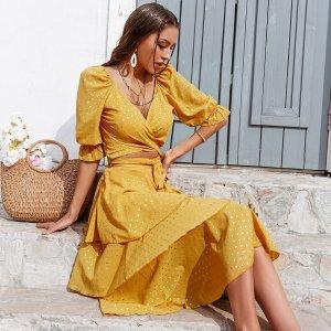 Топ с узлом и юбка SHEIN. Цвет: горчично-желтый