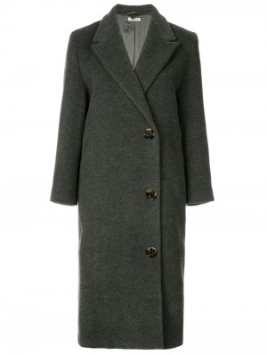 Двубортное пальто миди Miu Pre-Owned. Цвет: серый