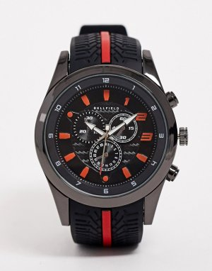 Красные часы с хронографом -Черный Bellfield