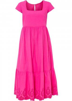 Платье миди bonprix. Цвет: ярко-розовый