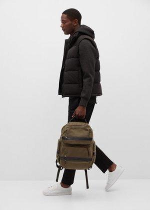 Нейлоновый рюкзак с множеством карманов - 24h Mango. Цвет: хаки