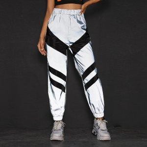 Контрастные светоотражеющие ветровка портивыне брюки SHEIN. Цвет: серые