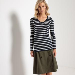 Пуловер в полоску с круглым вырезом и украшениями ANNE WEYBURN. Цвет: в полоску темно-синий/экрю