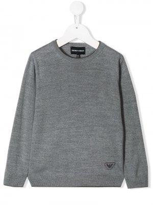 Пуловер с логотипом Emporio Armani Kids. Цвет: серый