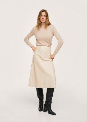 Миди-юбка 100% кожа - Mila Mango. Цвет: экрю