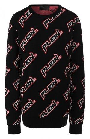 Пуловер из смеси шерсти и вискозы Philipp Plein. Цвет: черный