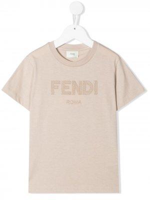 Футболка с логотипом Fendi Kids. Цвет: коричневый