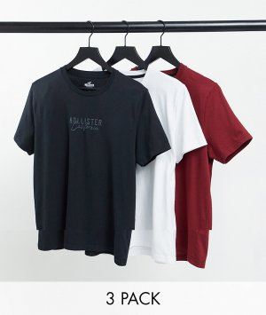 Набор из 3 футболок белого, красного, черного цветов с логотипом по центру -Многоцветный Hollister