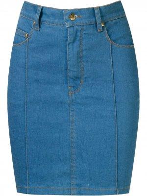 Джинсовая юбка с завышенной талией Amapô. Цвет: синий