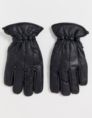 Черные кожаные перчатки -Черный Bellfield