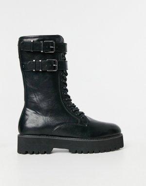 Черные ботинки из искусственной кожи на шнуровке ASOS DESIGN-Черный цвет