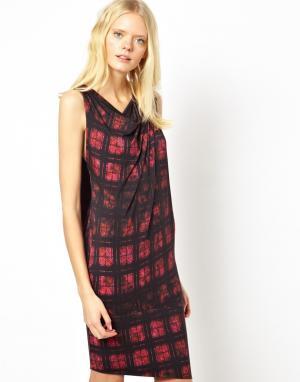 Платье без рукавов в шотландскую клетку на молнии Edun. Цвет: fuschia