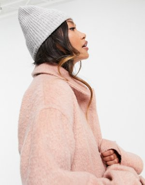 Светло-серая меланжевая шапка-бини в рубчик с широким отворотом -Серый ASOS DESIGN