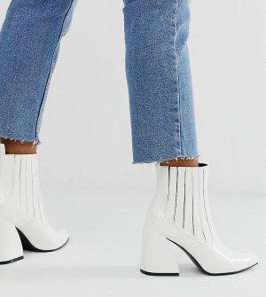 Белые лакированные ботинки челси на каблуке Exclusive Idaa-Белый Z_Code_Z