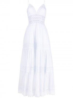 Поплиновое платье-рубашка с кружевом Charo Ruiz Ibiza. Цвет: белый