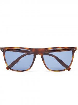 Солнцезащитные очки в прямоугольной оправе Ermenegildo Zegna. Цвет: коричневый