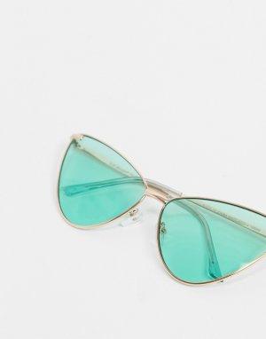 Солнцезащитные очки «кошачий глаз» с зелеными линзами в золотистой оправе -Золотистый AJ Morgan