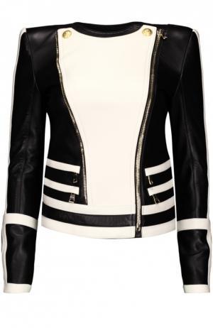 Кожаная куртка Balmain. Цвет: черно-белый