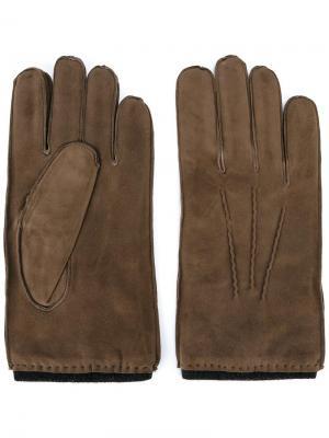 Перчатки с видным швом Orciani. Цвет: телесный