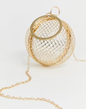 Клатч с дизайном в виде клетки сферической формы Luxe-Золотой ASOS DESIGN