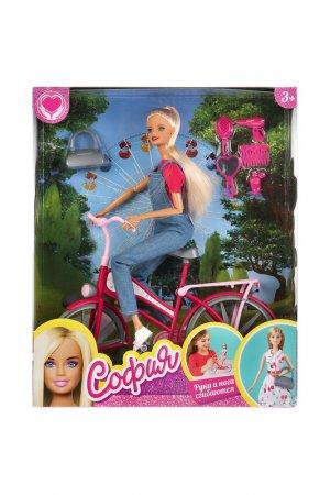 Кукла София на велосипеде Карапуз. Цвет: синий