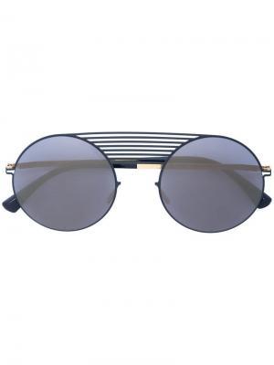 Солнцезащитные очки-авиаторы в круглой оправе Thierry Lasry. Цвет: синий