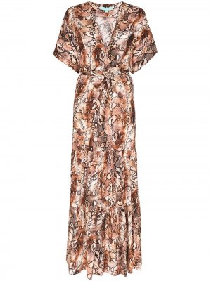 Платье макси Aria с принтом Melissa Odabash. Цвет: коричневый