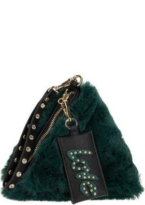 Клатч зеленого цвета со съемной петлей на запястье ERMANNO Scervino