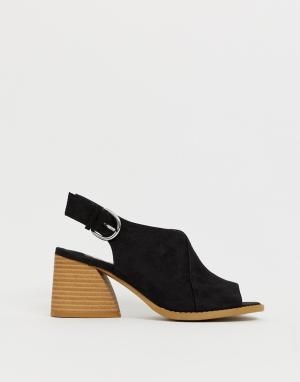 Черные босоножки на блочном каблуке с ремешком через пятку Dani-Черный Faith