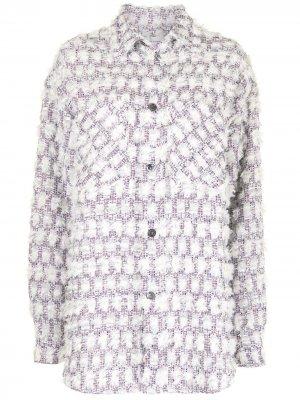 Твидовая куртка-рубашка оверсайз Faith Connexion. Цвет: белый