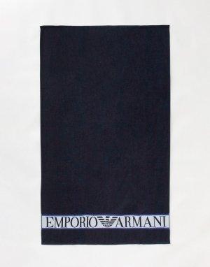Темно-синее полотенце с вышитым логотипом -Темно-синий Emporio Armani