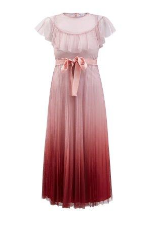 Приталенное платье-миди из тюля с эффектом деграде REDVALENTINO. Цвет: розовый