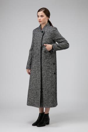 Женское пальто из твида А-силуэта Elisabetta. Цвет: черно-белый