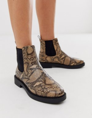 Ботинки челси на массивной подошве с эффектом змеиной кожи Auto-Мульти ASOS DESIGN