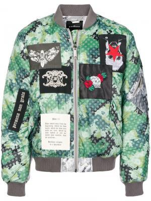 Куртка-бомбер с заплатками John Richmond. Цвет: зеленый