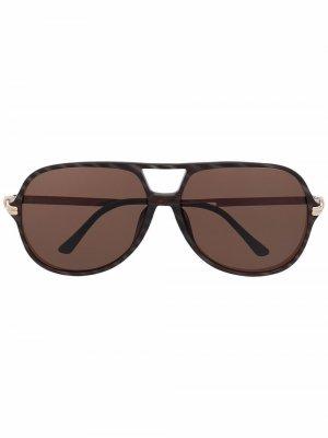Солнцезащитные очки-авиаторы 1970-х годов Christian Dior. Цвет: коричневый