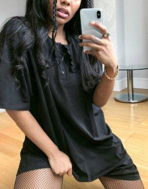 Черное чайное платье мини с большим воротником -Черный ASOS DESIGN