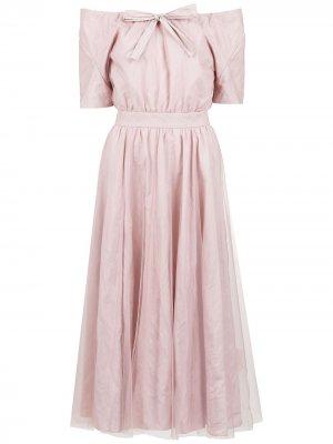 Платье с открытыми плечами и поясом Gloria Coelho. Цвет: розовый