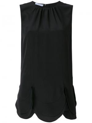 Блузка с фестонным подолом Prada. Цвет: черный