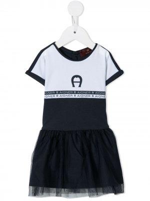 Платье-футболка с пышным подолом Aigner Kids. Цвет: синий