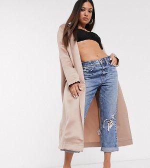 Бежевое легкое пальто ASOS DESIGN Petite-Розовый Petite