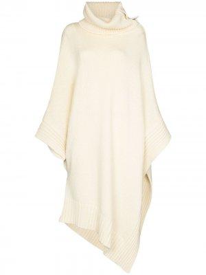 Вязаное пончо асимметричного кроя Stella McCartney. Цвет: белый