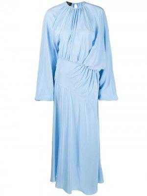 Платье миди со сборками Rochas. Цвет: синий