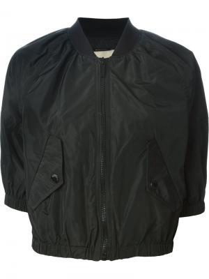 Укороченная куртка-бомбер Michael Kors. Цвет: чёрный